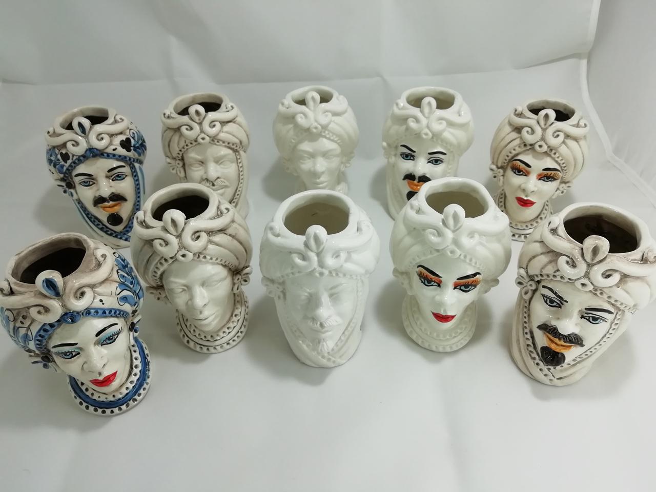 Testa di Moro di caltagirone Per Bomboniera bianca decorata personalizzata
