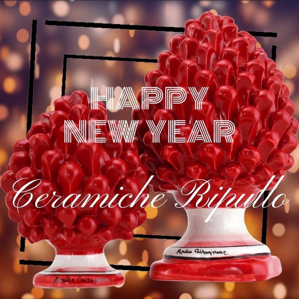 Happy New Year, Ceramiche di Caltagirone, Auguri, Teste di moro