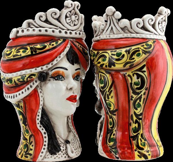 teste di moro coppia, coppia di teste siciliane, sciacca, noto, catania, teste portapianta, vendita ceramica siciliana, vendita ingrosso ceramica sicilia, vendita ingrosso, produzione propria caltagirone