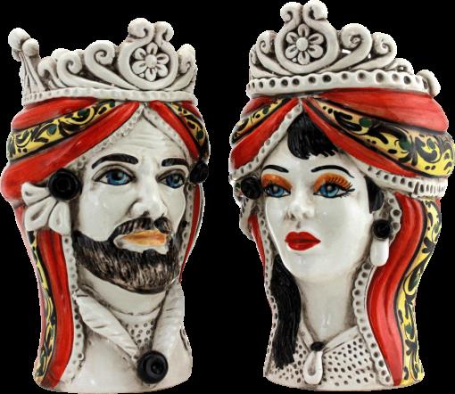 coppia teste di moro caltagirone, coppia teste siciliane, re e regina in ceramica, storia delle teste di moro, vasi in ceramica, coppia di vasi, testa uomo donna in ceramica di caltagirone