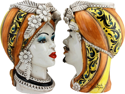 Teste di moro arancioni, coppia di teste di moro, teste di moro siciliane, ceramica di caltagirone, ingrosso ceramiche