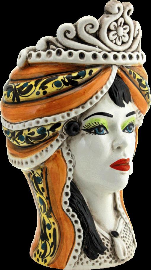 testa regina in ceramica, testa di moro donna, testa di donna caltagirone, testa regina in ceramica