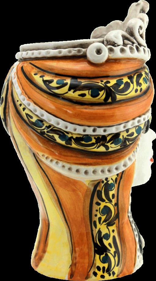 testa di moro femmina, teste in ceramica, caltagirone ceramiche, maioliche siciliane, maiolica, bomboniere, regali in ceramica,