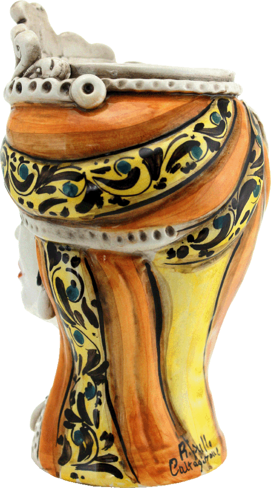 regina in ceramica, regina siciliana, figura di donna, testa di moro donna