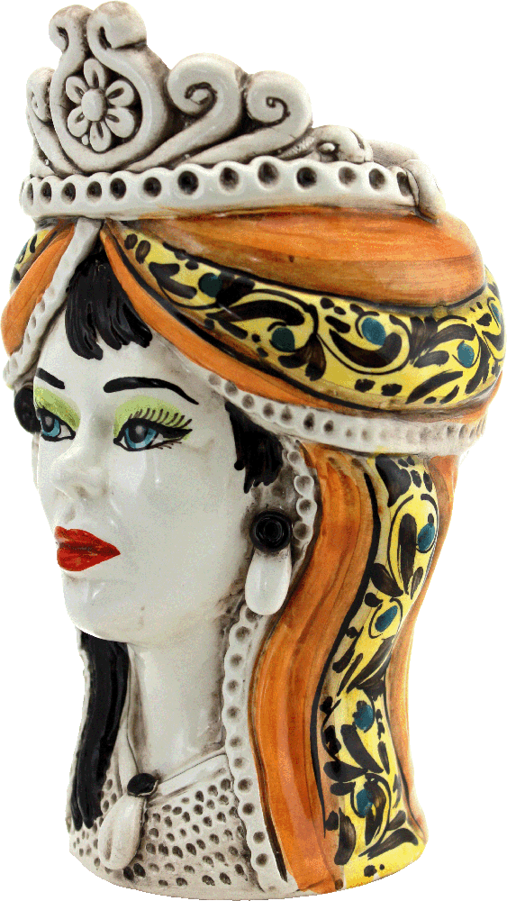 vasi a forma di testa, testa portapiante siciliana, vasi siciliani, ceramica siciliana, ceramica italiana