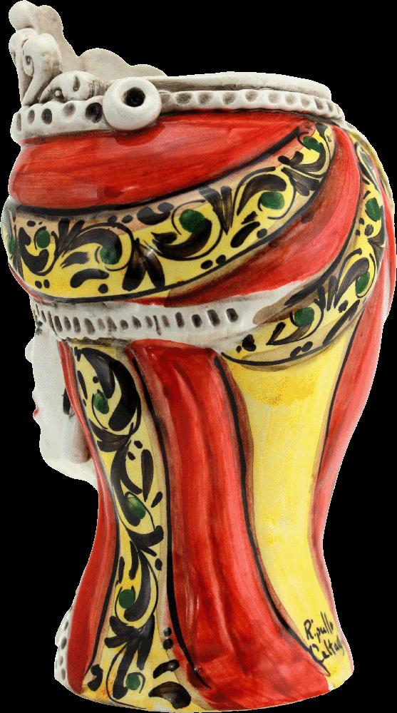 testa di regina in ceramica, testa portavaso in ceramica, testa in ceramica per esterno, ceramica da giardino, ceramica fatta a mano