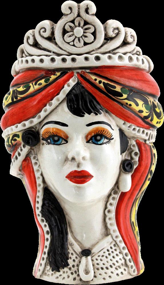 Testa di moro donna, testa di moro regina, testa di moro femmina, testa di moro in ceramica, testa di moro caltagirone, vendita ceramica di caltagirone, negozio ceramiche di caltagirone, ingrosso ceramiche