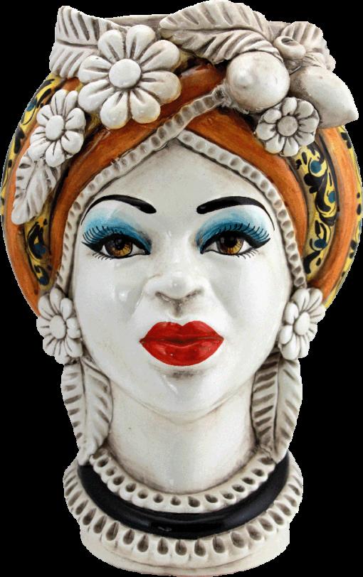 Testa di moro donna, testa di moro regina, testa di moro di caltagirone femmina, figura di donna, ceramiche di caltagirone, caltagirone, sicilia, italy