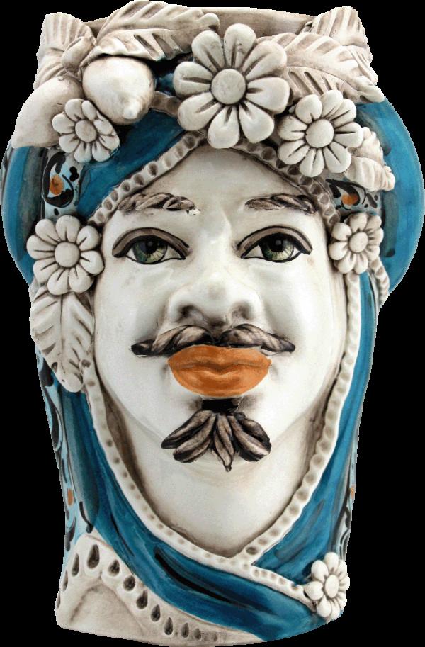 testa di moro blu, testa di moro caltagirone, teste di moro blu, ceramiche di caltagirone, vendita di ceramiche siciliane, produzione ceramiche siciliane