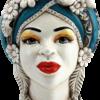 testa di moro donna, testa di moro blu, testa di moro portapiante, testa portavaso in ceramica, produzione teste in ceramica, produzione terracotta sicilia, rivenditori di ceramica di caltagirone,