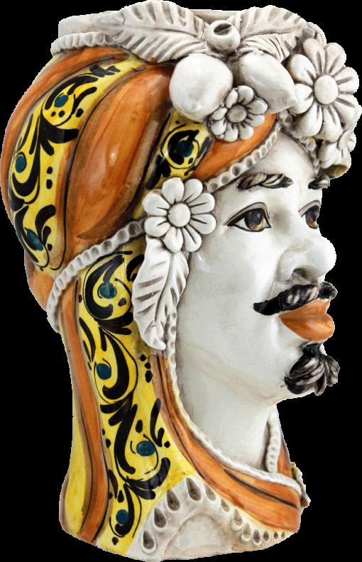 vaso a forma di testa, testa porta piante, teste in ceramica, maioliche siciliane, ceramics, pottery, handmade,