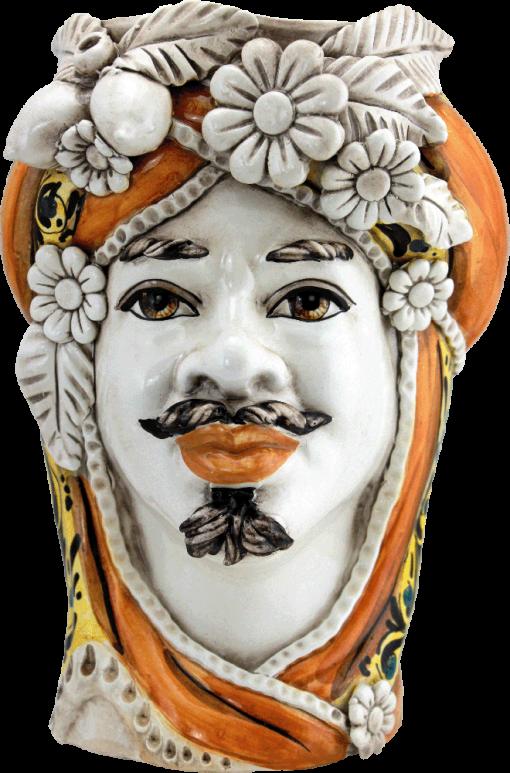 testa di moro arancio, testa di moro di caltagirone, maioliche siciliane,storia delle teste di moro, vasi in ceramica di caltagirone
